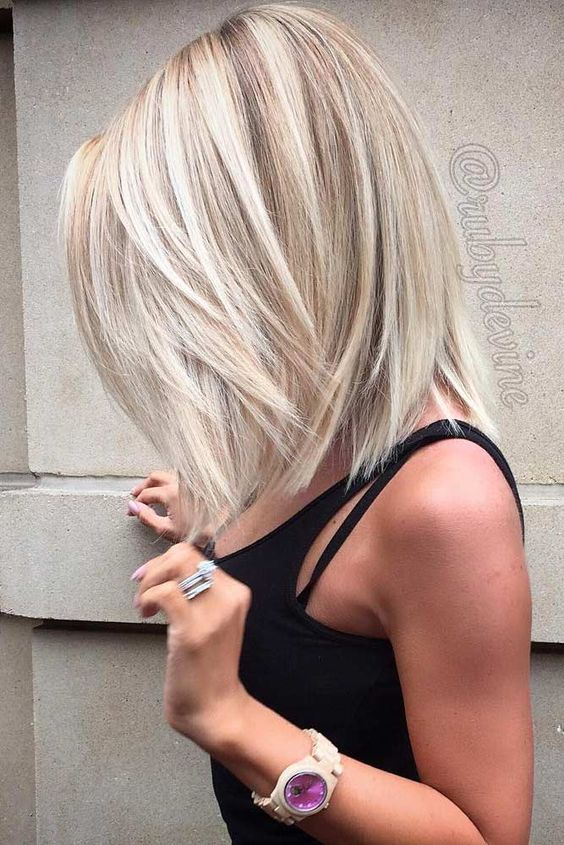 ashy blonde long bob hair