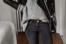 02 black jeans, a grey chunky knit sweater, white sneakers and a black leather jacket