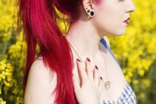 02 dark raspberry hair color for pin up style