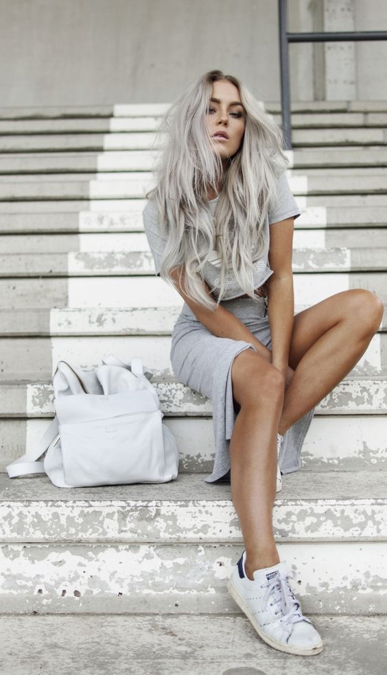 grey outfit and matching long hair