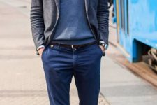 02 navy pants, a grey sweater and a tweed jacket, white sneakers