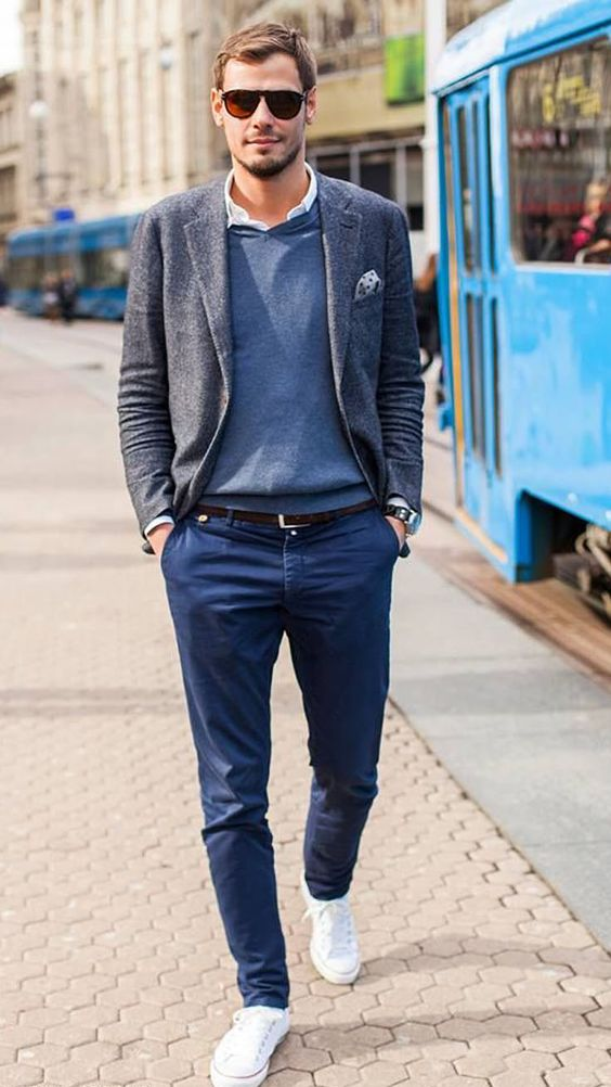 navy pants, a grey sweater and a tweed jacket, white sneakers