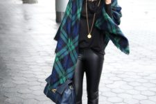 03 a black sweater, a plaid blanket scarf, a gold pendant necklace, leather leggings, leopard pumps