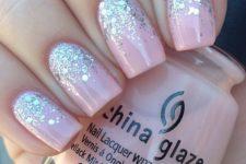 03 blush nails with glitter at the nail bed