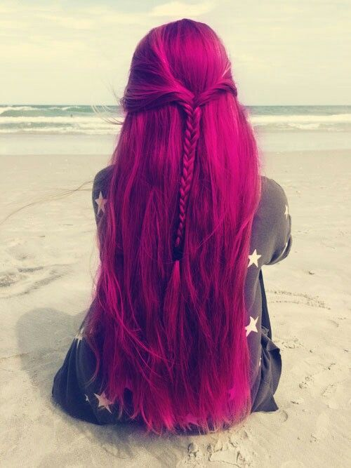long fuchsia hair