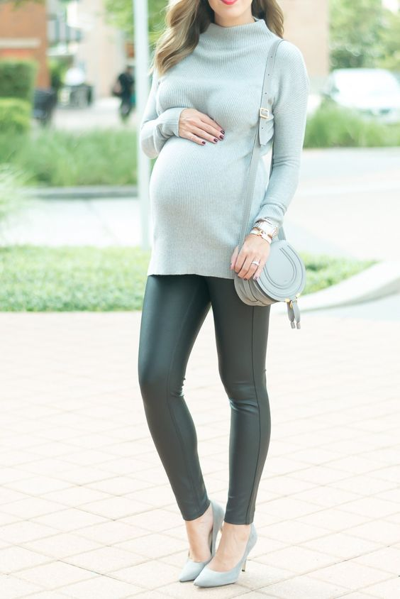 a tunic sweater, grey heels and leggings for a future mom look