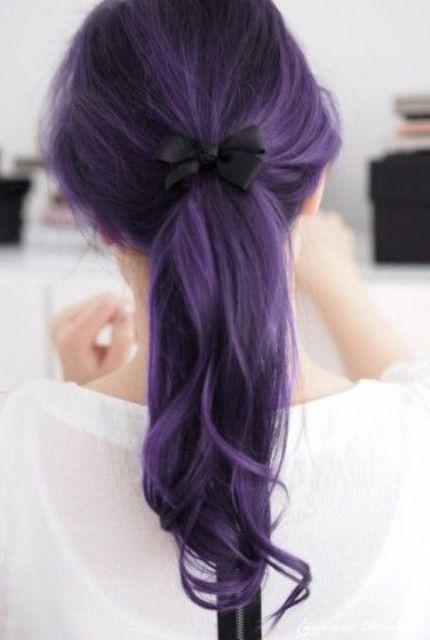 dark lavender hair color with black lowlights