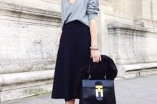 04 navy midi, a baggy grey sweater and purple suede boots