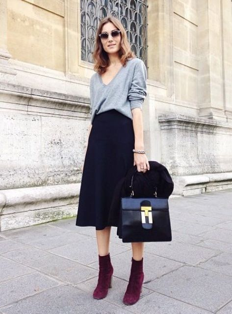 navy midi, a baggy grey sweater and purple suede boots