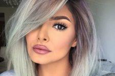 05 balayage brown to grey medium length hair