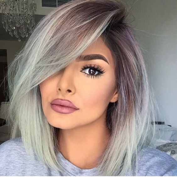 Picture Of Balayage Brown To Grey Medium Length Hair