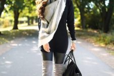 05 black sweater, a neutral blanket scarf, over the knee suede boots