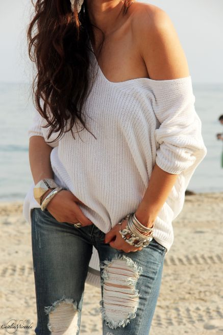 How To Style An Off The Shoulder Sweater: 25 Ideas - Styleoholic