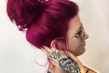 05 magenta hair messy updo looks awesome and modern