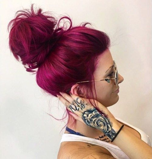 magenta hair messy updo looks awesome and modern