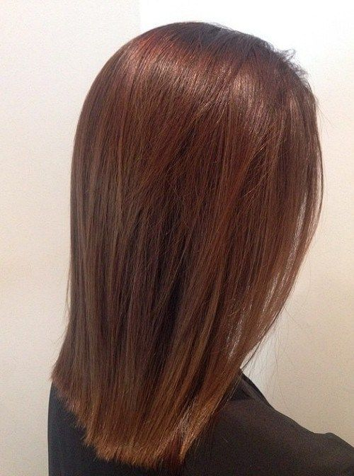 medium length straight chestnut hair