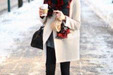 06 black leggings, heels, a white coat and a plaid scarf
