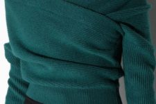 06 emerald off the shoulder sweater and a black button down skirt