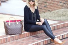 06 faux leather leggings, a black sweater and ocher suede heels