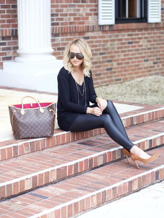 faux leather leggings, a black sweater and ocher suede heels