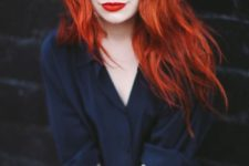 07 bold orange lips and hair to rock for the fall