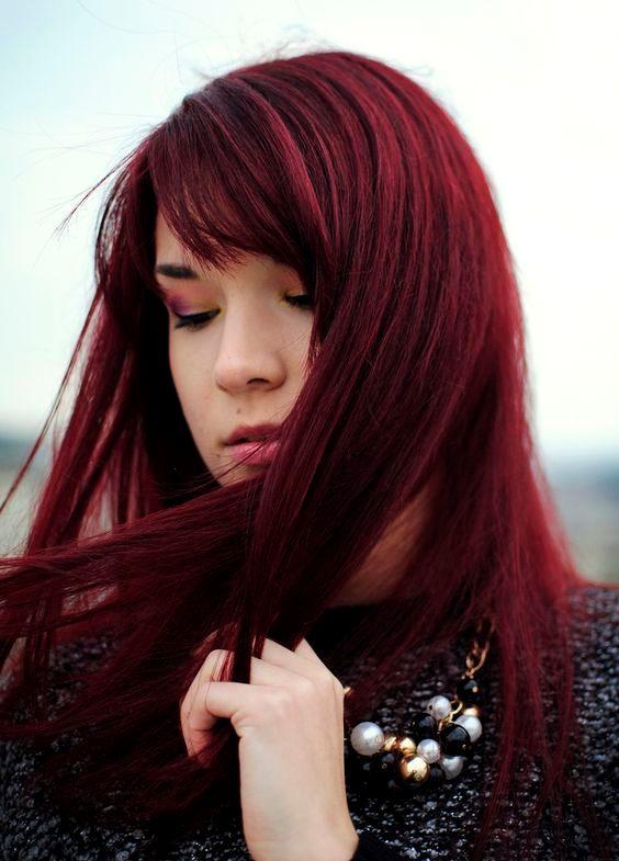 dark cherry shade on long straight hair