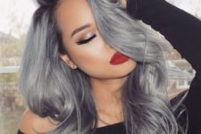 07 darker complexion looks great with black to grey ombre or balayage hair