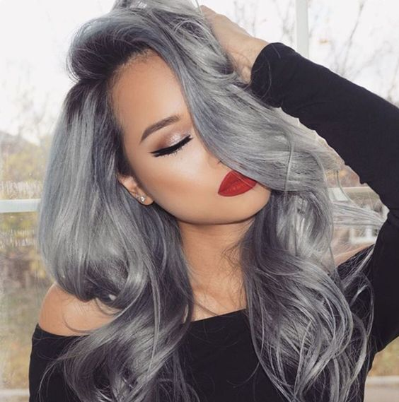 darker complexion looks great with black to grey ombre or balayage hair