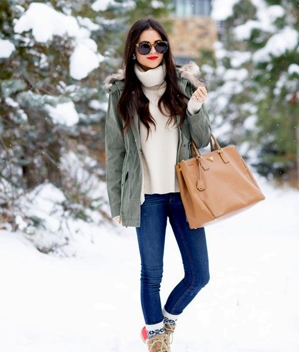 denim, a turtleneck sweater, an olive green parka coat