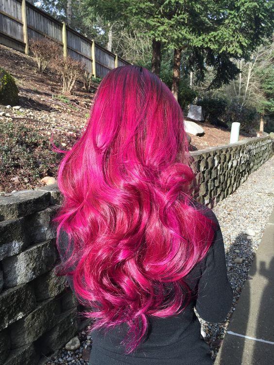 bold wavy magenta hair