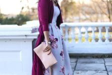 08 feminine look with a floral midi, a white top, nude heels and a purple long cardigan