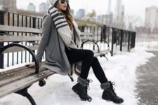 08 fur boots, black leggings, a grey coat, a scarf and a beanie