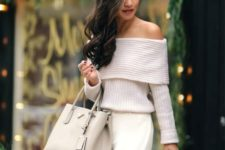 08 ivory off the shoulder, white pants and a nude bag