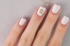 08 white nails with gold chevron stickers
