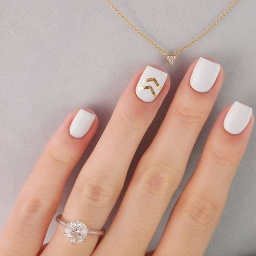 picture of white nails with gold chevron stickers