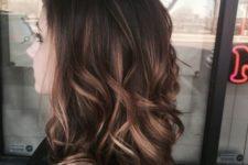 09 balayage on long hair, medium brown with blonde
