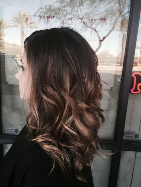 balayage on long hair, medium brown with blonde