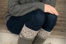 09 grey cable knit sweater, jeans, a knit cowl and leg warmers, ugg boots