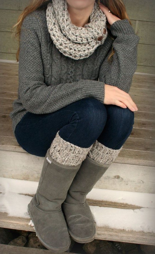 grey cable knit sweater, jeans, a knit cowl and leg warmers, ugg boots