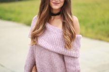 09 knit lightweight off the shoulder long sweater in mauve color with jeans