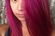 09 simple straight magenta hair