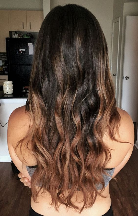 beautiful chestnut and caramel balayage for dark hair
