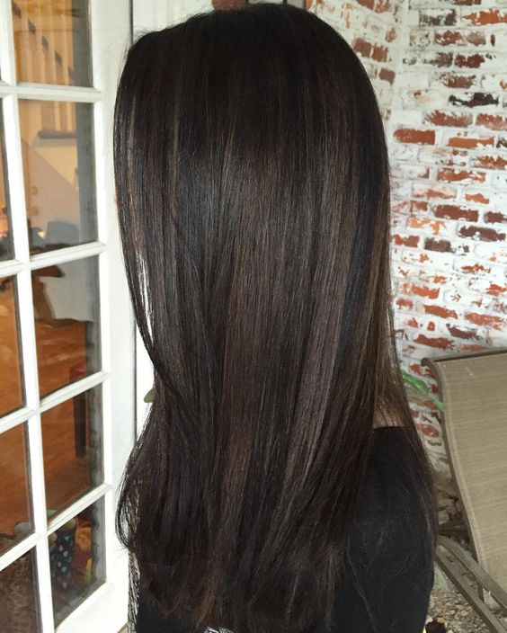 black hair with chestnut highlights