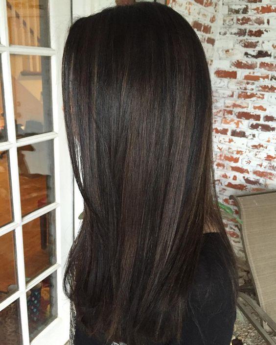 black hair with chestnut highlights
