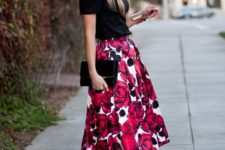 10 bold floral midi skirt, a black shirt and heels