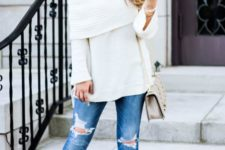 10 knit off the shoulder, ripped blue jeans and nude heels