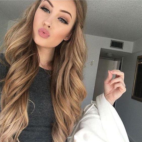 soft caramel hair looks very girlish