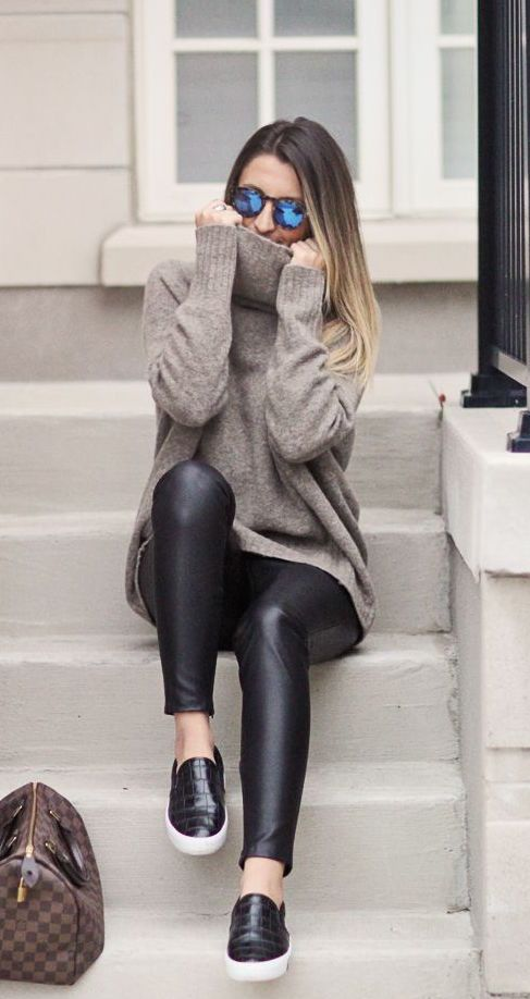 turtleneck sweater, leggings and black slip ons
