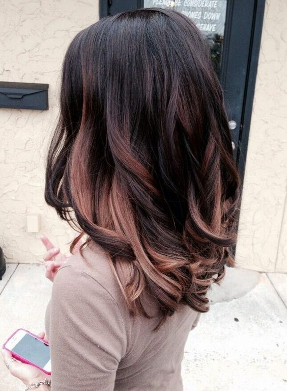black hair with dark brown and caramel highlights