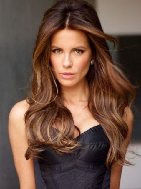 brown hair with chestnut lowlights for a chic look
